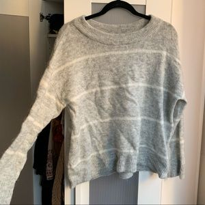 Gray Sweater with thin white stripes